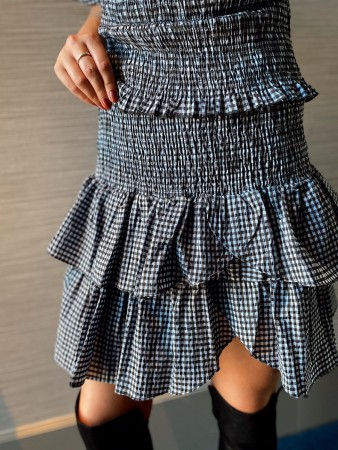 Neo Noir Light Blue Carin Tiny Check Skirt - FORHÅNDSBESTILLING