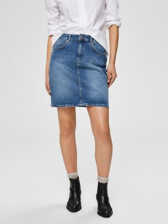 Selected Femme Medium Blue Denim Slfkenna Mw Mid Blue Denim Skirt Noos