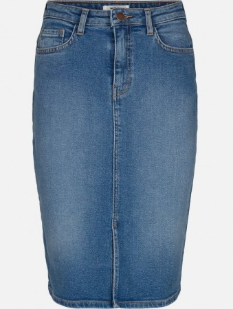 Msch L Blue Wash Rikka Hw Denim Skirt
