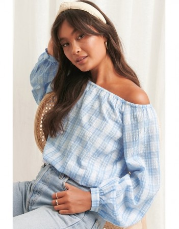 Na-kd Blue/white - Off Shoulder Structure Check Blouse  Blue/white