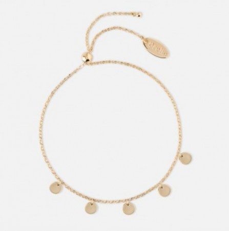 Orelia Pale Gold Coin Charm Drop Slider Bracelet