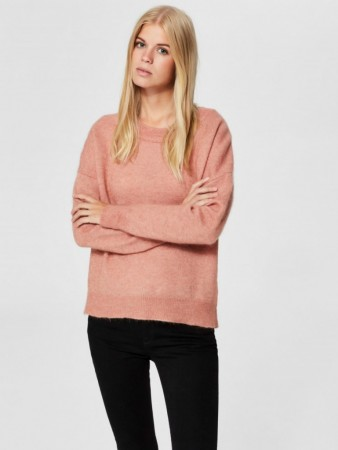 Selected Femme Cafe Creme/melange Slflivana Ls Knit O-neck