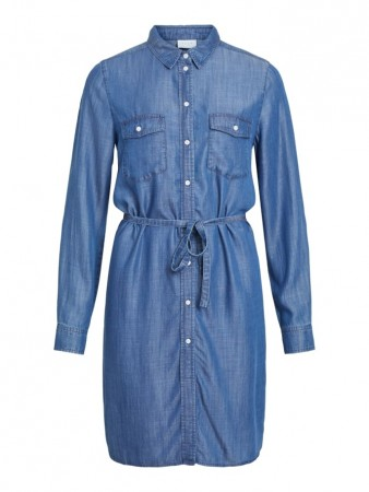 Vila Dark Blue Denim Visuster Shirt Dress /su