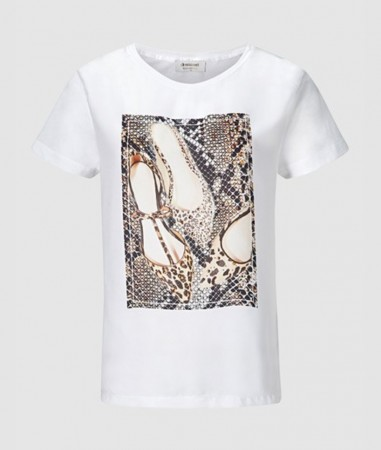 Rich & Royal White T-shirt With Shoe Print
