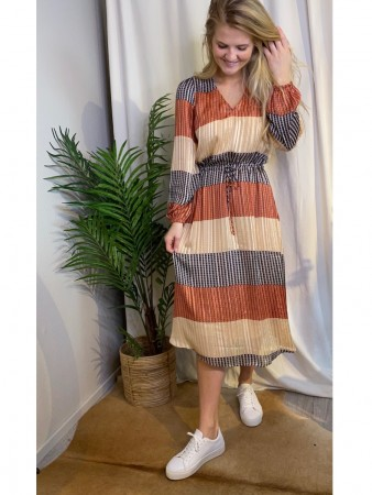 Second Female Apricot Brandy Board Ls Midi Dress