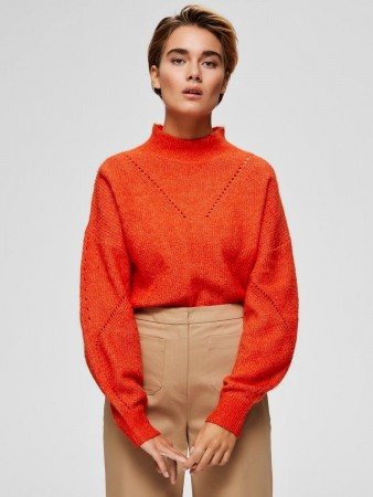 Selected Femme Orange.com Slfinga Ls Knit Frill-neck B