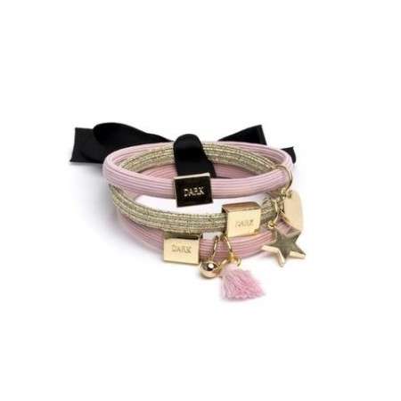 Dark Pink/gold Dame 3pk Hair Ties W/charms