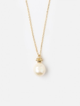 Orelia Pineapple Pearl Charm Necklace