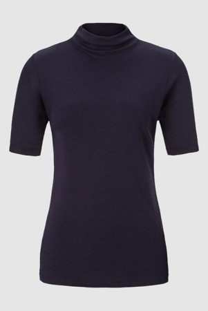 Rich & Royal Deep Blue Funnel Neck - T-shirt
