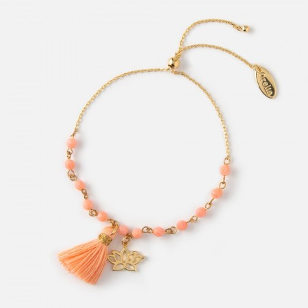 Orelia Pale Gold Lotus & Tassel Beaded Bracelet