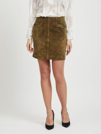 Vila Dark Olive Vijolly Rw Suede Skirt