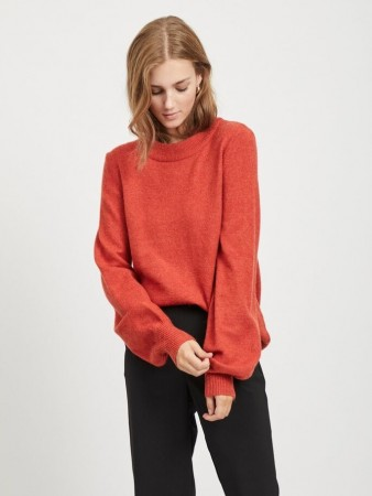 Vila Ketchup Viril L/s Balloon Knit Top - Fav Nx