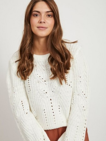Vila White Alyssum Viwishi Knit O-neck L/s Top/ki