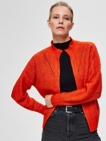 Selected Femme Orange - Slfinga Ls Knit Frill Cardigan B