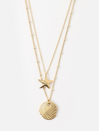 Orelia Starfish & Etched Disc Two Row Necklace