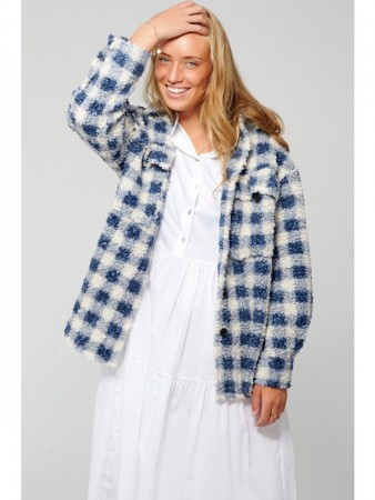 Noella Vigga Shirt Jacket, Teddy - Blue/cream Checks