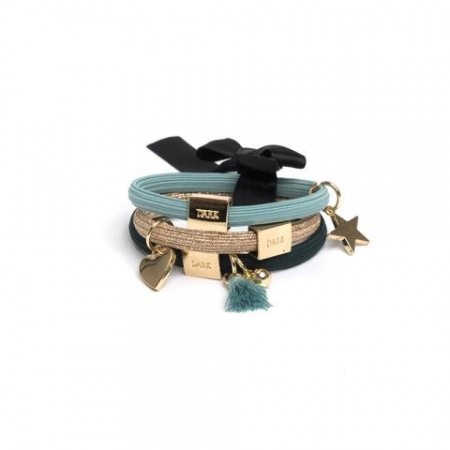 Dark Dark Teals 3pk Hair Ties W/charms