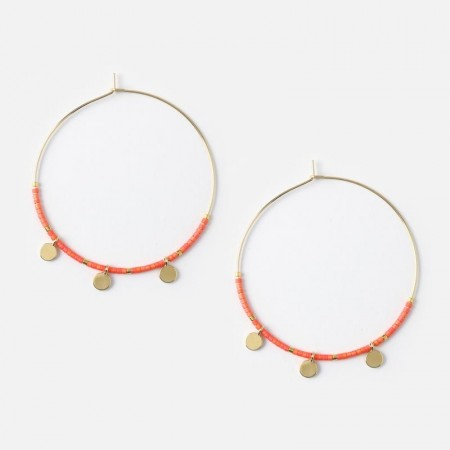 Orelia Gold Coin Charm Seed Hoops
