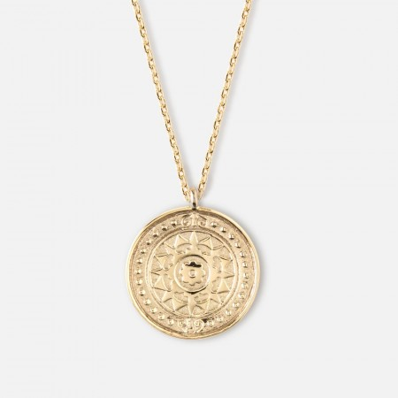 Orelia Pale Gold Engraved Coin Pendant Necklace