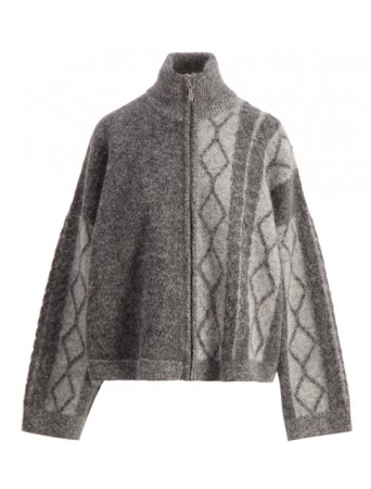 Holzweiler Charcoal Tine Cable Knit Cardigan