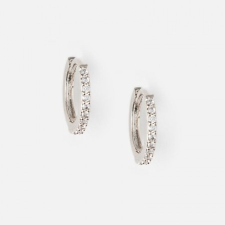Orelia Silver Mini Pave Hoop Earrings