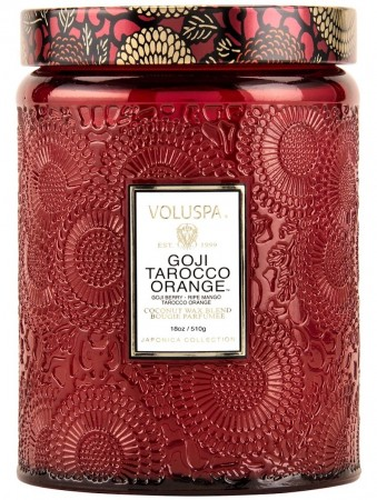 Voluspa Large Embossed Jar Candle Goji Tarocco