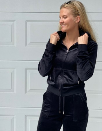 Juicy Couture Black Robertson Classic Velour Zip Trough Hoodie