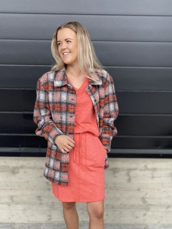 Noella - Viksa Jacket Wool - Orange Checks