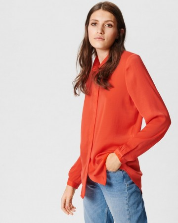 Msch Poppy Red Blair Polysilk Shirt