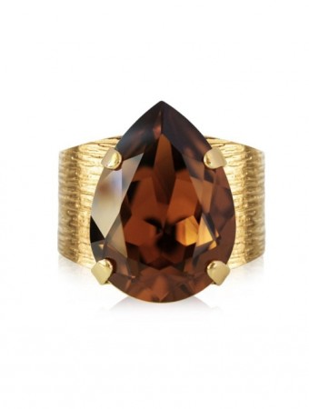 Caroline Svedbom Smoked Topaz Classic Drop Ring Gold