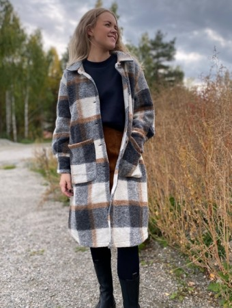 Noella Grey/camel Checks Viksa Jacket Long, Wool