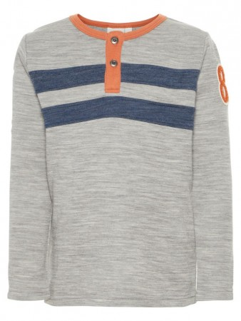 Name It Grey Melange Nmmwuppo Wool/co Ls  Top