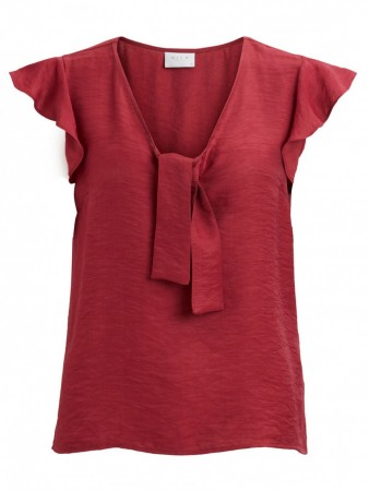 Vila Earth Red Viranny Knot Capsleeve Top