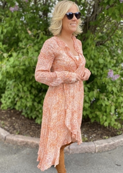 Second Female Apricot Brandy Floral Ls Wrap Dress