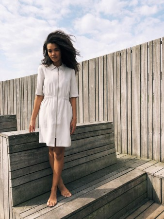 Storm & Marie Sand Emma Collar Dress