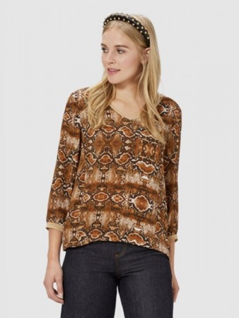 Rich & Royal Ginger Brown V-neck Blouse With Snake Print