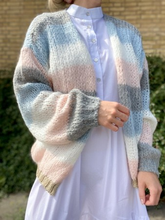 Noella Light Blue/light Rose Kala Knit Cardigan Stripes