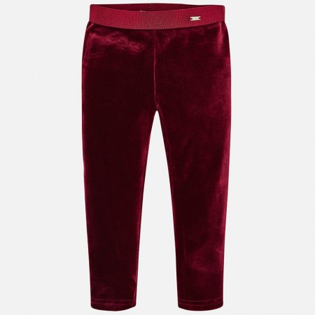 Mayoral Raspberry Elastic Velvet Leggings