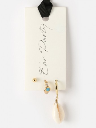 Orelia Cowrie Huggie & Turquoise Ear Party - Gold