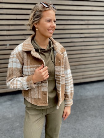 Noella Camel Checks Viksa Jacket Short