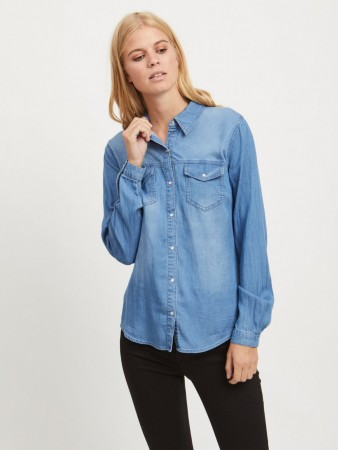 Vila Medium Blue Denim Vibista Denim Shirt
