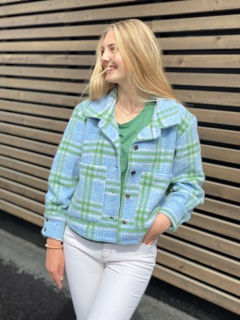 Noella - Viksa Jacket Short, Wool - Blue/green Checks