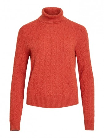 Vila Ketchup Viril Knit L/s Rollneck Cable Top Ki