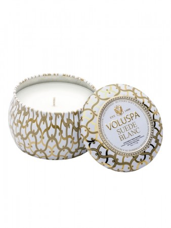 Voluspa Dec Tinc Candle 25tim - Suede Blanc