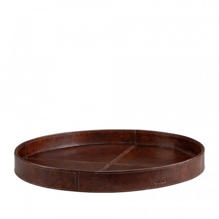 Artwood Mendoza Round Tray - 40,5 X 4cm Leather Brown