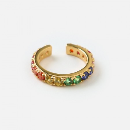 Orelia Pale Gold Pave Rainbow Single Ear Cuff