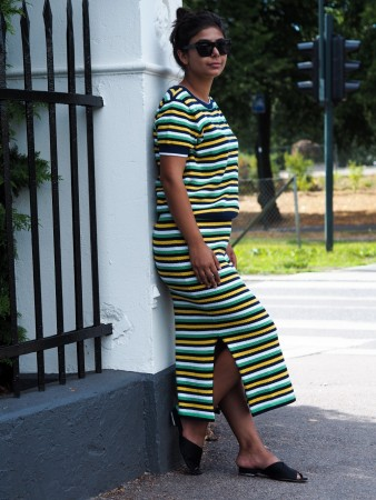 Rah Penelope Skirt Green Stripes