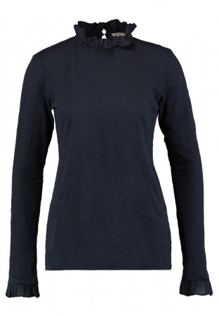 Rich & Royal Deep Blue Slub Frill Longsleeve