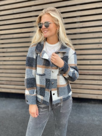 Noella Grey/Camel Checks Short Viksa Jacket