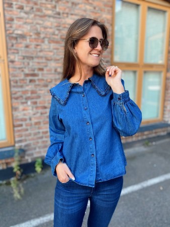 Noella Dark Blue Abby Shirt, Cotton Denim - FORHÅNDSBESTILLING
